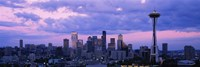Seattle Skyline with Purple Sky and Clouds Fine Art Print