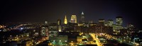Aerial view of a city lit up at night, Cleveland, Ohio, USA Fine Art Print