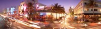 """Ocean Drive at Night, Miami, Florida by Panoramic Images - 36"""" x 12"""""""
