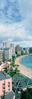 "High angle view of a beach, Waikiki Beach, Honolulu, Oahu, Hawaii, USA by Panoramic Images - 12"" x 36"""