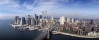 "Aerial view of Brooklyn Bridge and Manhattan skyline, New York City, New York State, USA by Panoramic Images - 36"" x 12"""