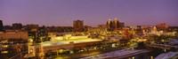 High angle view of buildings lit up at dusk, Kansas City, Missouri, USA Fine Art Print