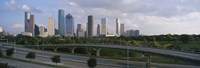 """Houston Skyline from a Distance, Texas, USA by Panoramic Images - 36"""" x 12"""", FulcrumGallery.com brand"""