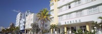 """Art Deco Hotels, Ocean Drive, Florida, USA by Panoramic Images - 36"""" x 12"""""""