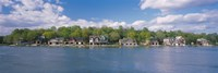 """Boathouses near the river, Schuylkill River, Philadelphia, Pennsylvania, USA by Panoramic Images - 36"""" x 12"""""""