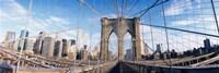 "Railings of a bridge, Brooklyn Bridge, Manhattan, New York City, New York State, USA, (pre Sept. 11), 2001 by Panoramic Images, 2001 - 36"" x 12"""