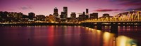 "Skyscrapers lit up at sunset, Willamette River, Portland, Oregon, USA by Panoramic Images - 36"" x 12"", FulcrumGallery.com brand"