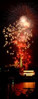 USA, Washington DC, Fireworks over Lincoln Memorial Fine Art Print