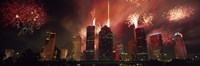 """Fireworks over buildings in a city, Houston, Texas by Panoramic Images - 36"""" x 12"""""""
