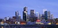 Buildings lit up at dusk, Denver, Colorado Fine Art Print