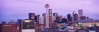"""Building lit up at dusk, Denver, Colorado, USA by Panoramic Images - 36"""" x 12"""""""
