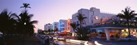 "Buildings Lit Up At Dusk, Ocean Drive, Miami, Florida, USA by Panoramic Images - 36"" x 12"""