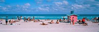 """Tourist on the beach, Miami, Florida, USA by Panoramic Images - 36"""" x 12"""""""