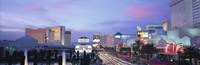 """Dark Blue Sky with Pink Coulds Over Las Vegas by Panoramic Images - 36"""" x 12"""", FulcrumGallery.com brand"""