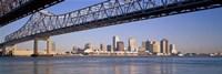 Low angle view of bridges across a river, Crescent City Connection Bridge, Mississippi River, New Orleans, Louisiana, USA Fine Art Print