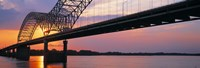 Sunset, Hernandez Desoto Bridge And Mississippi River, Memphis, Tennessee, USA Fine Art Print