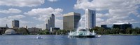 Buildings at the waterfront, Lake Eola, Orlando, Florida, USA Framed Print