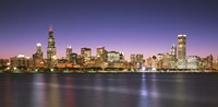 """Skyscrapers lit up at night at the waterfront, Lake Michigan, Chicago, Cook County, Illinois, USA by Panoramic Images - 36"""" x 12"""""""