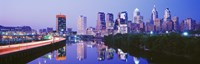 """Philadelphia Lit Up at Night by Panoramic Images - 36"""" x 12"""""""