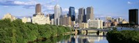 """Daytime View of Philadelphia with Clouds by Panoramic Images - 36"""" x 12"""""""