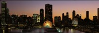 """Chicago skyline Lit Up at Night by Panoramic Images - 36"""" x 12"""""""