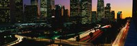 """Harbor Freeway and buildings lit up, Los Angeles CA by Panoramic Images - 36"""" x 12"""""""