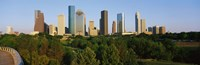 """Downtown Houston by Panoramic Images - 36"""" x 12"""", FulcrumGallery.com brand"""