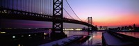 "Suspension bridge across a river, Ben Franklin Bridge, Philadelphia, Pennsylvania, USA by Panoramic Images - 36"" x 12"""