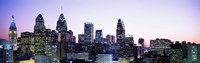 """Philadehphia Skyline with Pink and Purple Sky by Panoramic Images - 36"""" x 12"""", FulcrumGallery.com brand"""