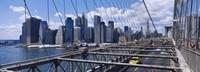"Traffic on a bridge, Brooklyn Bridge, Manhattan, New York City, New York State by Panoramic Images - 36"" x 12"""