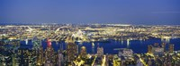 "Aerial View Of Buildings Lit Up At Dusk, Manhattan by Panoramic Images - 36"" x 12"""