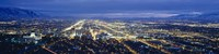 Aerial view of a city lit up at dusk, Salt Lake City, Utah, USA Fine Art Print