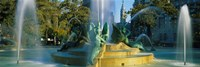 """Fountain In Front Of A Building, Logan Circle, City Hall, Philadelphia, Pennsylvania, USA by Panoramic Images - 36"""" x 12"""""""