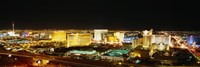 "High Angle View Of Buildings Lit Up At Night, Las Vegas, Nevada by Panoramic Images - 36"" x 12"""