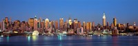 Panoramic View of New York City from the Water at Night Fine Art Print