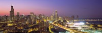 Pink and Purple Sky Over Chicago at Night by Panoramic Images - various sizes