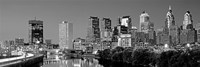 Philadelphia, Pennsylvania Skyline at Night (black and white) Fine Art Print