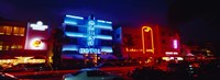 """Low Angle View Of A Hotel Lit Up At Night, Miami, Florida, USA by Panoramic Images - 36"""" x 12"""""""