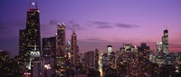 """Chicago Buildings lit up at dusk by Panoramic Images - 36"""" x 15"""""""