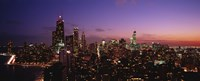 """Buildings lit up at dusk, Chicago, Illinois, USA by Panoramic Images - 36"""" x 12"""""""
