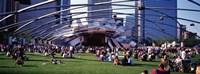 """People At A Lawn, Pritzker Pavilion, Millennium Park, Chicago, Illinois, USA by Panoramic Images - 36"""" x 12"""" - $34.99"""