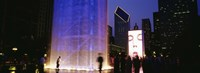 """Spectators Watching The Visual Screen, The Crown Fountain, Millennium Park, Chicago, Illinois, USA by Panoramic Images - 36"""" x 12"""""""
