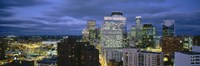 """Buildings Lit Up At Dusk, Minneapolis, Minnesota by Panoramic Images - 36"""" x 12"""""""