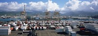 """Containers And Cranes At A Harbor, Honolulu Harbor, Hawaii, USA by Panoramic Images - 36"""" x 12"""""""