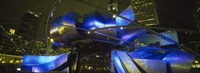 "Pavilion in a park lit up at night, Pritzker Pavilion, Millennium Park, Chicago, Illinois, USA by Panoramic Images - 36"" x 12"""