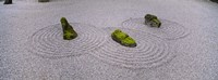 "High angle view of moss on three stones in a Zen garden, Washington Park, Portland, Oregon, USA by Panoramic Images - 36"" x 12"""