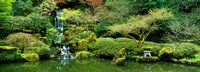 "Waterfall in a garden, Japanese Garden, Washington Park, Portland, Oregon, USA by Panoramic Images - 36"" x 13"""