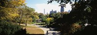 "High angle view of a group of people walking in a park, Central Park, Manhattan, New York City, New York State, USA by Panoramic Images - 36"" x 12"""