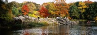 "Group of people sitting on rocks, Central Park, Manhattan, New York City, New York, USA by Panoramic Images - 36"" x 12"""