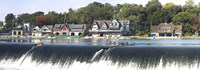 """Boathouse Row at the waterfront, Schuylkill River, Philadelphia, Pennsylvania by Panoramic Images - 36"""" x 12"""""""